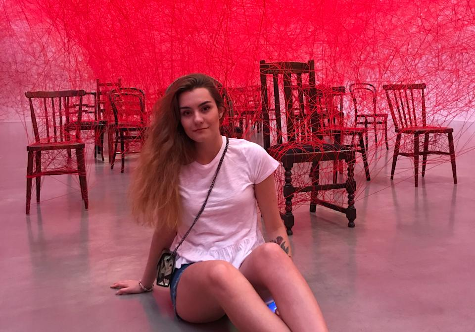 Student Sofia Sapega poses for a picture in Gothenburg, Sweden, in this undated photo taken in 2019. Sapega and Belarusian opposition activist and blogger Roman Protasevich were detained by Belarusian authorities after a forced landing of Ryanair Flight 4978 flying from Athens to Vilnius in Minsk on May 23, 2021.