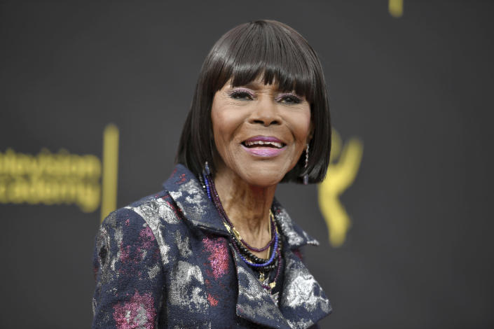 "FILE - In this Sunday, Sept. 15, 2019, file photo, Cicely Tyson arrives at night two of the Creative Arts Emmy Awards in Los Angeles. Tyson appears in ""Cherish the Day,"" airing 10 p.m. EST Tuesday on OWN. The series follows a Los Angeles couple's relationship over eight episodes that span five years. Xosha Roquemore and Alano Miller star in the network's first anthology series, created by filmmaker and TV producer Ava DuVernay. (Photo by Richard Shotwell/Invision/AP, file)"