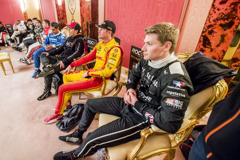 "Josef Newgarden Ryan Hunter-Reay and others backstage <span class=""copyright"">Race of Champions</span>"