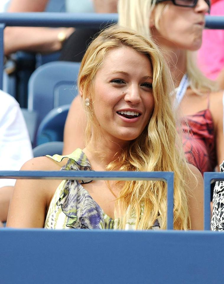"In Queens, New York, Blake Lively was spotted looking glamorous while watching Serena Williams face off against Ana Ivanovic at the US Open. Serena moved into the quarterfinals after beating Ana 6-3, 6-4. Uri Schanker/<a href=""http://www.wireimage.com"" target=""new"">WireImage.com</a> - September 5, 2011"