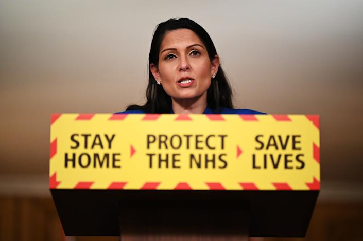 Priti Patel during Tuesday's Downing Street press conference. (Leon Neal/PA)