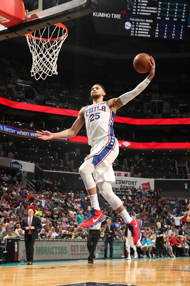 CHARLOTTE, NC - APRIL 1: Ben Simmons #25 of the Philadelphia 76ers drives to the basket during the game against the Charlotte Hornets on April 1, 2018 at Spectrum Center in Charlotte, North Carolina. (Photo by Kent Smith/NBAE via Getty Images)