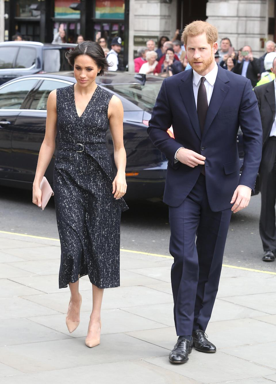 <p>The couple arrive at a memorial service for Stephen Lawrence in Trafalgar Square in London. Prince Harry is set to read a message on behalf of his father, Prince Charles. </p>