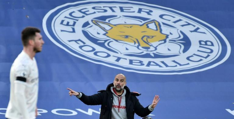 'Best in league': Manchester City manager Pep Guardiola gestures from the sidelines in the 2-0 win at Leicester City