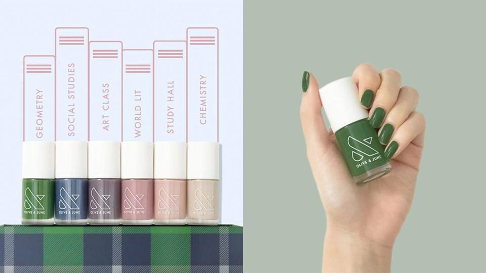Use these muted nail polish tones from Olive & June to accessorize any outfit.