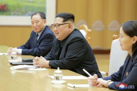 FILE PHOTO: North Korean leader Kim Jong Un meets members of the special delegation of South Korea's President in this photo released by North Korea's Korean Central News Agency