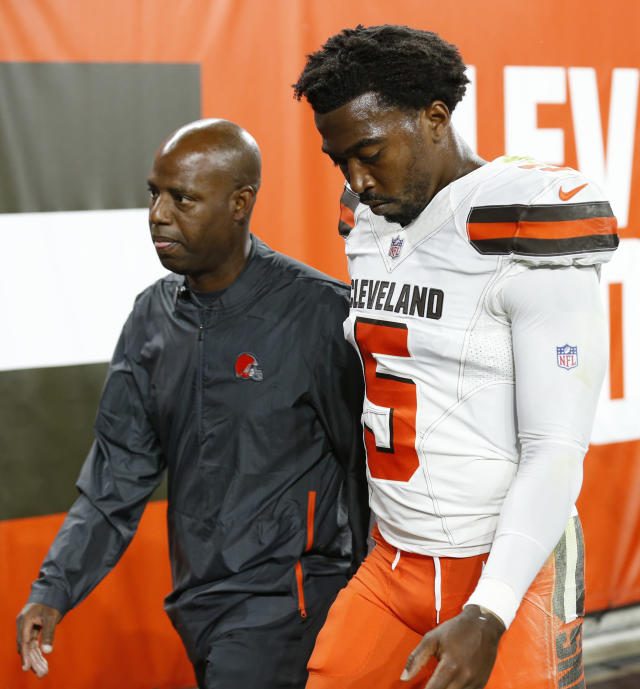 Cleveland Browns quarterback Tyrod Taylor walks to the locker room during the first half of an NFL preseason football game against the Philadelphia Eagles, Thursday, Aug. 23, 2018, in Cleveland. (AP Photo/Ron Schwane)