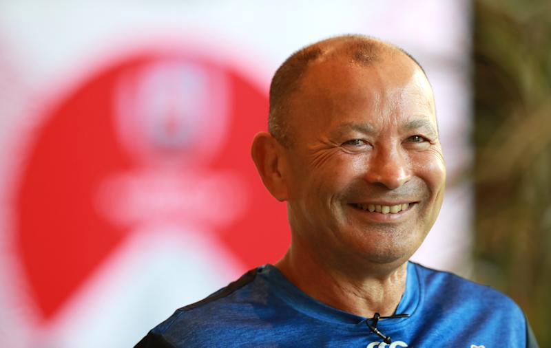 MIYAZAKI, JAPAN - SEPTEMBER 14: Eddie Jones, the England head coach faces the media at a conference held prior to the Japan 2019 Rugby World Cup on September 14, 2019 in Miyazaki, Japan. (Photo by David Rogers/Getty Images)