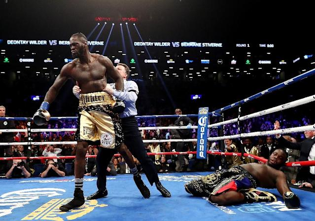 Deontay Wilder knocks out Bermane Stiverne in the first round during their rematch for Wilder's WBC heavyweight title, at the Barclays Center in New York, on November 4, 2017 (AFP Photo/AL BELLO)