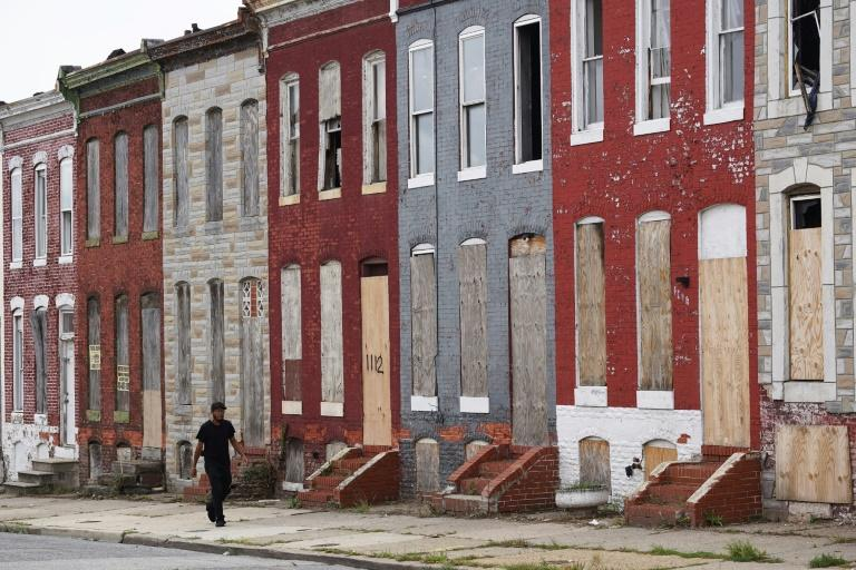 Boarded up houses in east Baltimore
