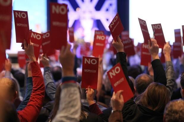 Delegates vote on policies at the 2019 general meeting of the United Conservative Party. Joel Mullan, who was removed as a board member and vice-president on Tuesday, says its grassroots members are being ignored. (Dave Chidley/The Canadian Press - image credit)