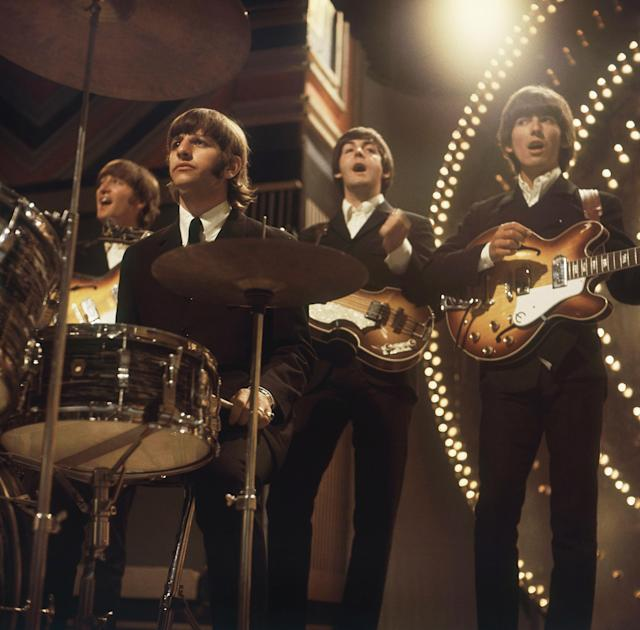 The Beatles perform at TV studios in London, June 1966, prior to their tour in Germany and Japan. From left to right: John Lennon, Ringo Starr, Paul McCartney and George Harrison. (AP Photo)