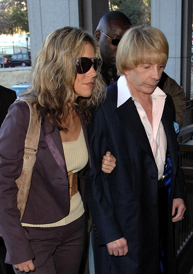 "Music producer, Phil Spector, arrives at court with a new hairdo. Pete Whittle/<a href=""http://www.splashnewsonline.com"" target=""new"">Splash News</a> - May 7, 2007"
