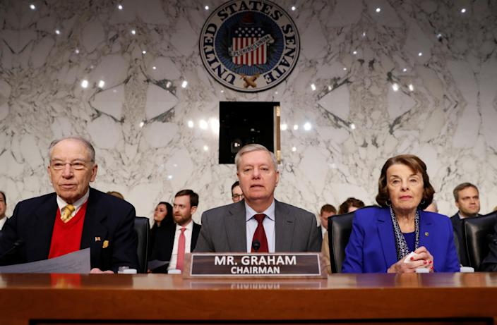 Sen. Chuck Grassley, R-Iowa, Senate Judiciary Committee Chairman Lindsey Graham and Sen. Dianne Feinstein, D-Calif., await the confirmation hearing Tuesday of William Barr, nominee for attorney general. (Photo: Kevin Lamarque/Reuters)