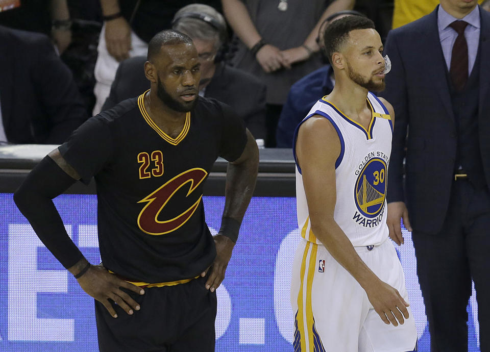 LeBron James and Stephen Curry will again meet on Christmas. (AP)