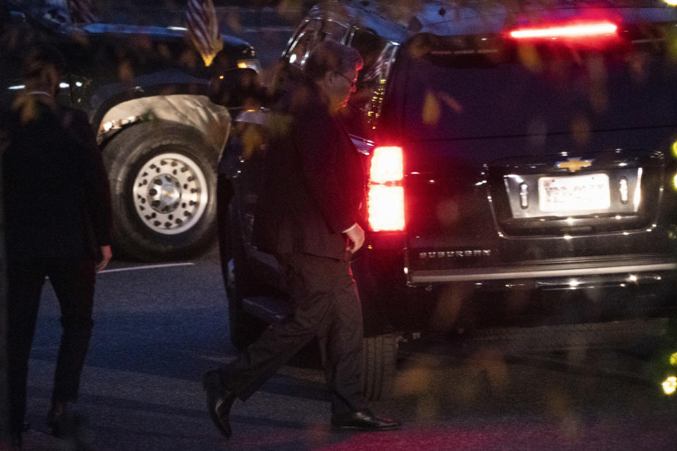 Attorney General William Barr leaves a meeting at the White House, Tuesday, Dec. 1, 2020, in Washington. (AP Photo/Evan Vucci)
