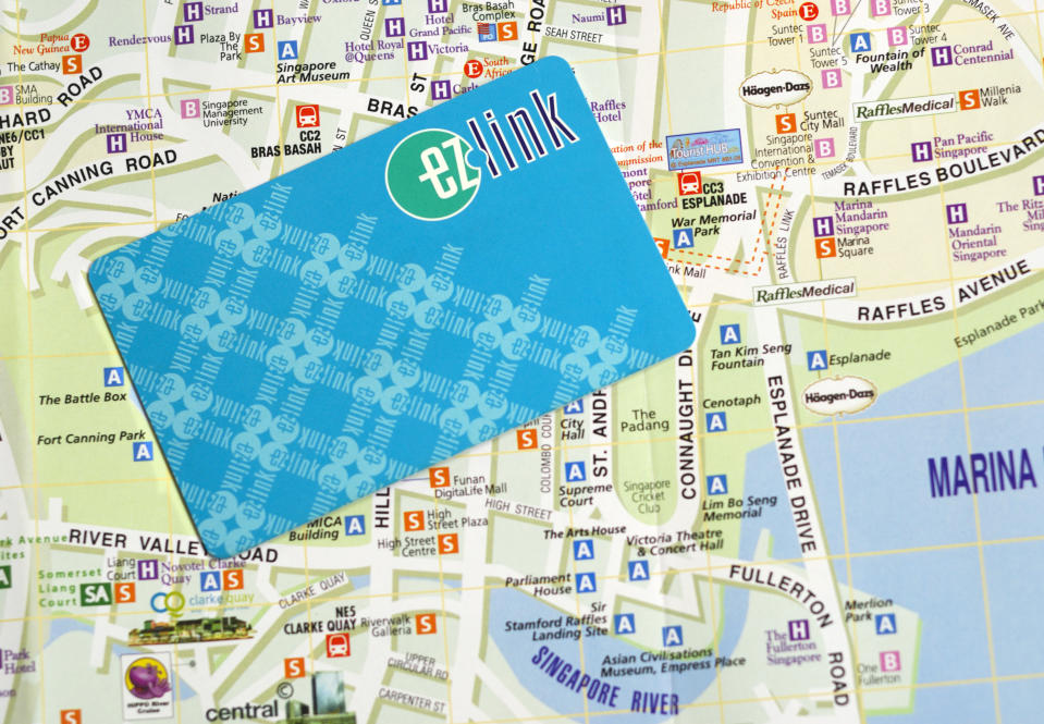An EZ-Link card against a map.