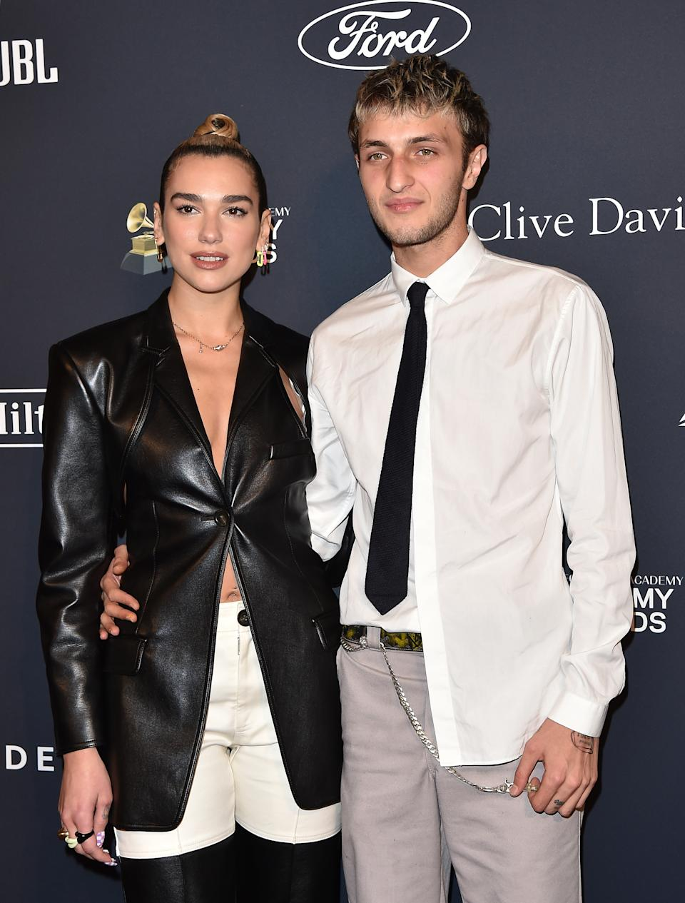 """Dua Lipa and Anwar Hadid attend the Pre-GRAMMY Gala and GRAMMY Salute to Industry Icons Honoring Sean """"Diddy"""" Combs at The Beverly Hilton Hotel on January 25, 2020 in Beverly Hills, California. (Photo by Axelle/Bauer-Griffin/FilmMagic)"""