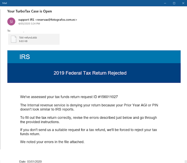 Screenshot of the email that users may receive that is actually a Turbo Tax scam. (Trustwave)