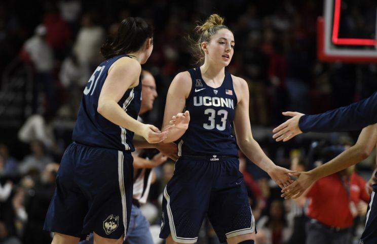 Katie Lou Samuelson (33) led No. 1 UConn to an 87-81 win over No. 4 Maryland, the program's 87th consecutive victory. (AP)