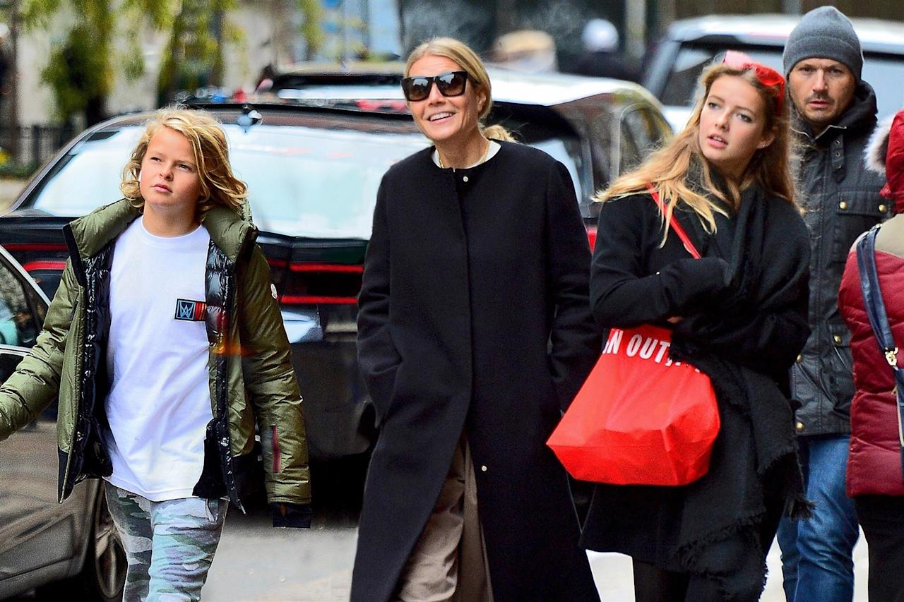 <p>Gwyneth Paltrow<span> was all smiles as she was spotted out with her kids Apple and Moses on a chilly day in New York ahead of Thanksgiving.</span> Photo: Backgrid </p>