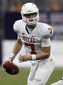 Garrett Gilbert took over the Longhorns offense in the BCS title game when Colt McCoy was injured