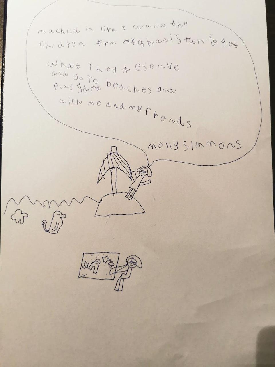 A picture Molly Simmons, 6, drew for Afghan refugees (Matt Simmons/PA).