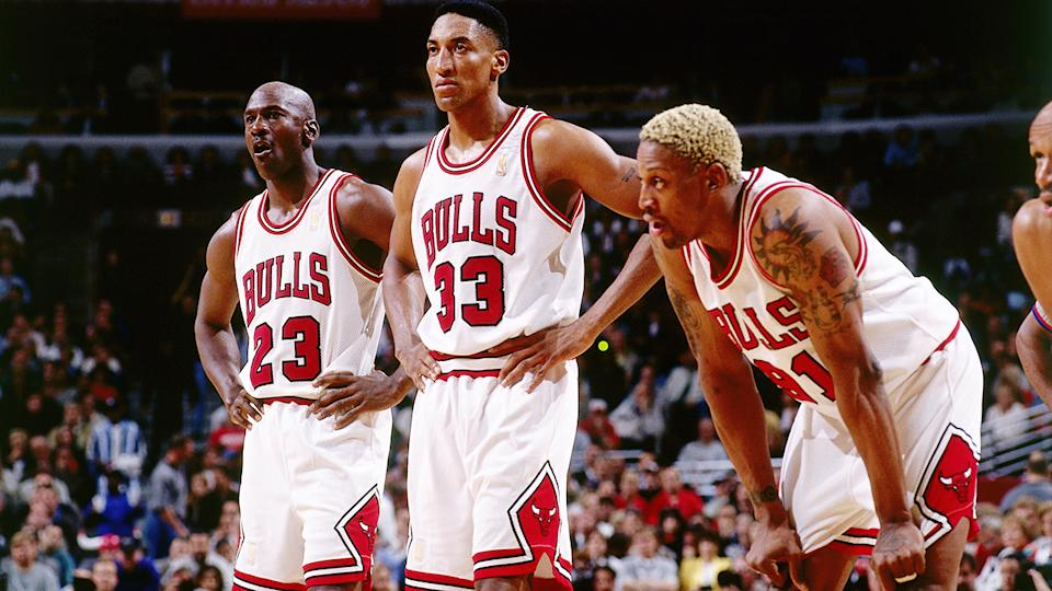 Michael Jordan, Scottie Pippen and Dennis Rodman, pictured here with the Chicago Bulls in 1997.