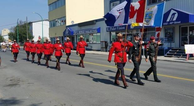 Members of the RCMP were at the front of a Canada Parade in Yellowknife back in 2016. (Submitted by Marino Casebeer - image credit)