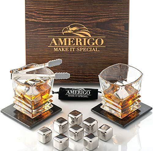 "<p><strong>Amerigo</strong></p><p>amazon.com</p><p><strong>$39.99</strong></p><p><a href=""https://www.amazon.com/dp/B0839QPTW4?tag=syn-yahoo-20&ascsubtag=%5Bartid%7C10055.g.28748940%5Bsrc%7Cyahoo-us"" rel=""nofollow noopener"" target=""_blank"" data-ylk=""slk:Shop Now"" class=""link rapid-noclick-resp"">Shop Now</a></p><p>If your guy claims he's a whiskey connoisseur, then this set has everything he needs. The set includes whiskey stones, two coasters and two crystal glasses. </p>"