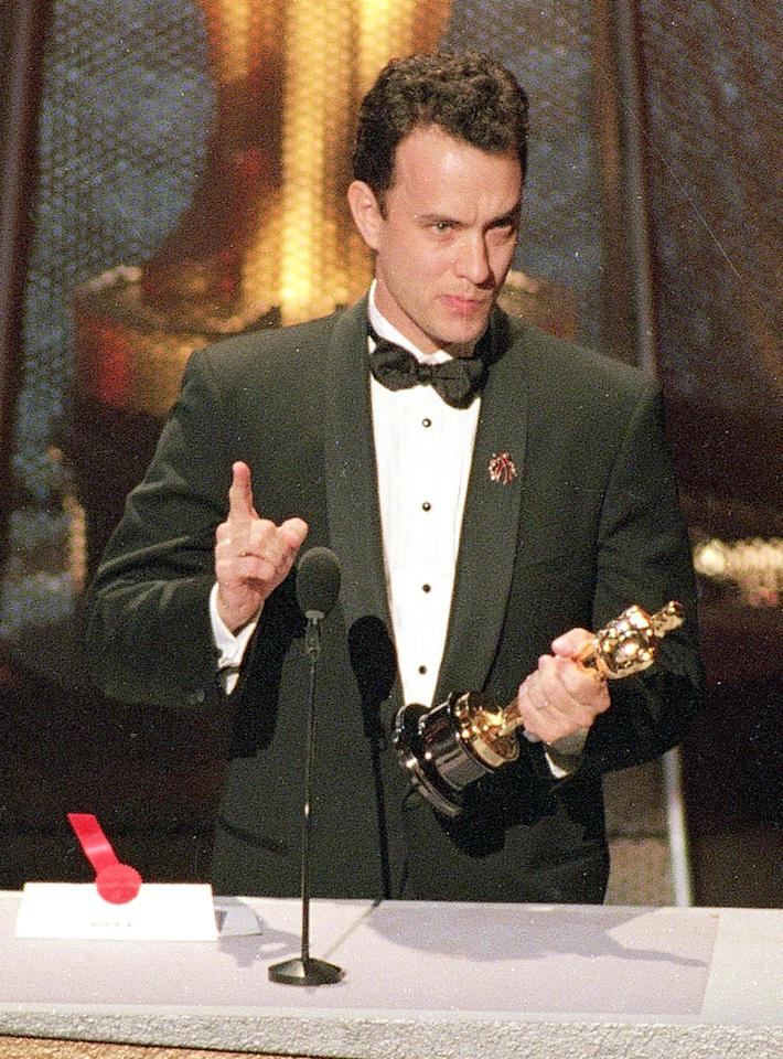 "When Tom Hanks won his first Oscar for playing a gay, AIDS-infected lawyer in ""Philadelphia,"" he thanked his high school drama teacher, Rawley Farnsworth. Hanks had asked Farnsworth for permission to use his name in the speech if he won, but didn't mention the part about calling him one of the ""finest gay Americans"" on national television. This was a potential problem as Farnsworth had kept his sexuality private up until that point. The former Skyline High School teacher was fine with it, and the speech served as the inspiration for the 1997 movie ""In & Out,"" starring Kevin Kline as the inspiring teacher."