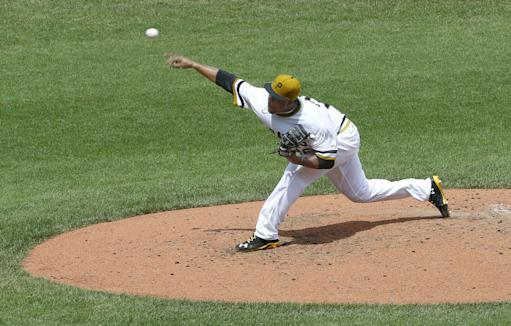 Pittsburgh Pirates starting pitcher Edinson Volquez throws against the New York Mets in the fifth inning of the baseball game on Sunday, June 29, 2014, in Pittsburgh. (AP Photo/Keith Srakocic)