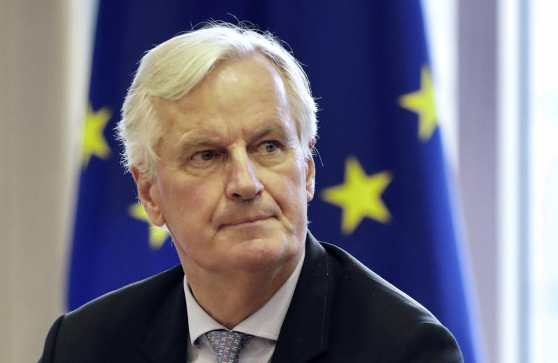 European Union chief Brexit negotiator Michel Barnier waits for the start of a meeting of the Brexit Steering Committee at the European Parliament, Wednesday, Oct. 2, 2019. British Prime Minister Boris Johnson on Wednesday sent to Brussels what he says is the U.K.'s final offer for a Brexit deal, with the date set for Britain's departure less than a month away. (AP Photo/Olivier Matthys)