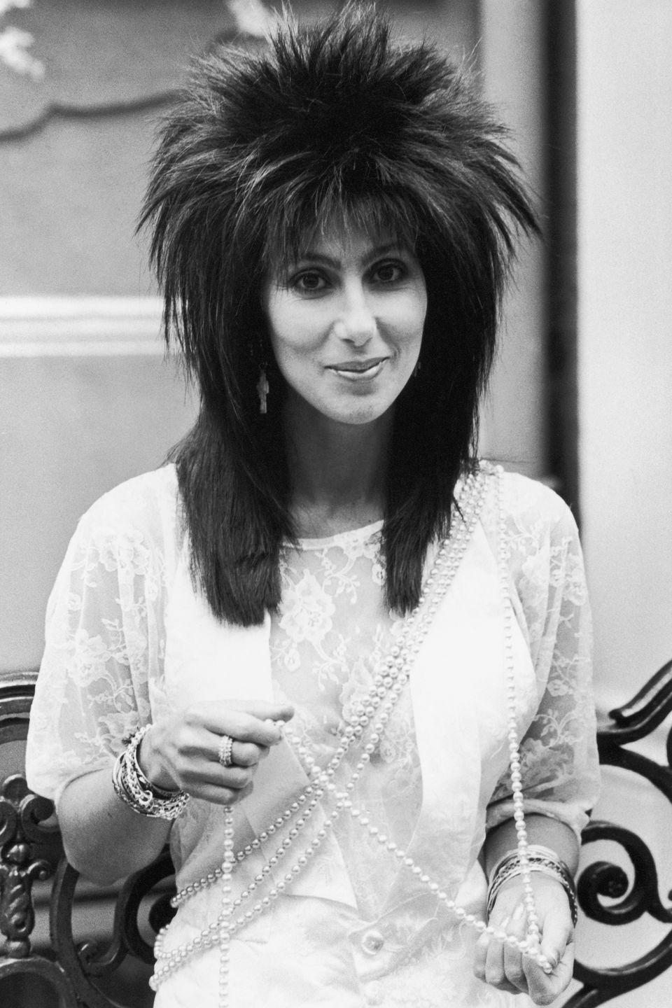 <p>In one of her rock-inspired wigs of the '80s.</p>