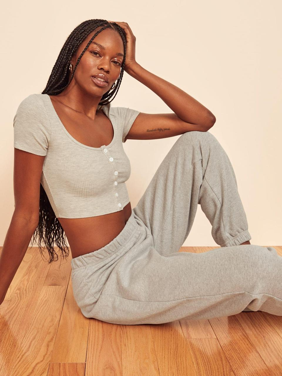 """<h2>Lady-Like Loungewear </h2><br><br><strong>Reformation</strong> Cili Top, $, available at <a href=""""https://go.skimresources.com/?id=30283X879131&url=https%3A%2F%2Fwww.thereformation.com%2Fproducts%2Fcili-top%3Fcolor%3DMarble"""" rel=""""nofollow noopener"""" target=""""_blank"""" data-ylk=""""slk:Reformation"""" class=""""link rapid-noclick-resp"""">Reformation</a>"""