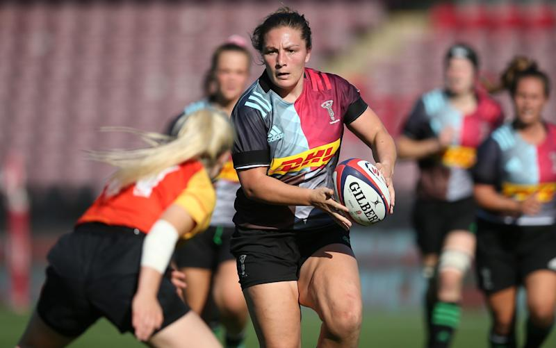 Amy Cokayne of Harlequins Women makes a break during the Tyrells Premier 15s match between Harlequins Women and Richmond Women at Twickenham Stoop on September 21, 2019 in London, England. - GETTY IMAGES