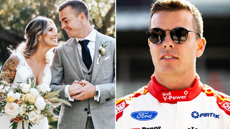 Scott McLaughlin, pictured here with wife Karly after they were married in 2019.