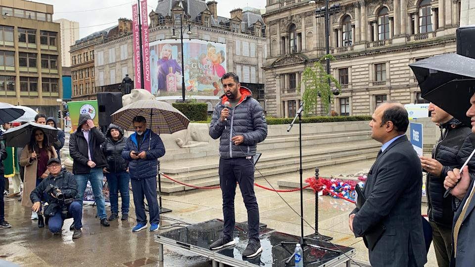 Humza Yousaf speaking in George Square