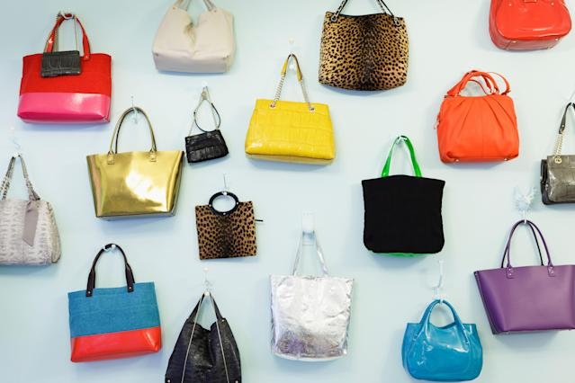 A wall of Kate Spade bags on display in a London pop-up shop. (Photo: Alamy)