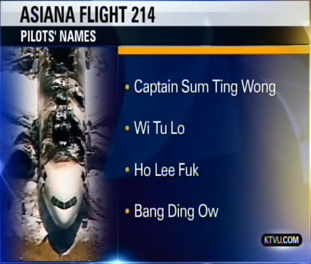 NTSB Says Intern Confirmed Asiana Pilot Names That Were Horribly, Offensively Wrong