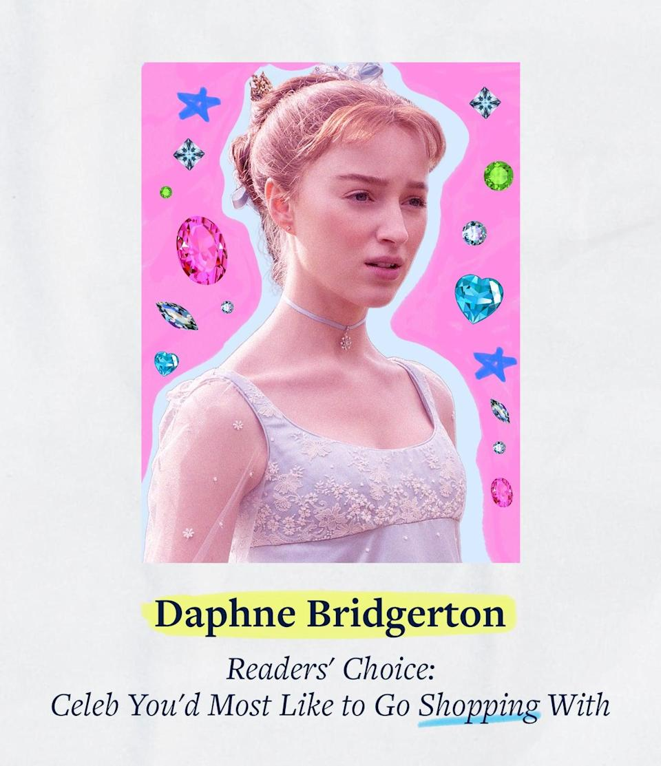 """<p>We asked - you answered! Daphne Bridgerton beat out the onscreen competition from <strong><a class=""""link rapid-noclick-resp"""" href=""""https://www.popsugar.co.uk/Gossip-Girl"""" rel=""""nofollow noopener"""" target=""""_blank"""" data-ylk=""""slk:Gossip Girl"""">Gossip Girl</a></strong>, <strong>Generation</strong>, <strong><a class=""""link rapid-noclick-resp"""" href=""""https://www.popsugar.co.uk/tag/Outer-Banks"""" rel=""""nofollow noopener"""" target=""""_blank"""" data-ylk=""""slk:Outer Banks"""">Outer Banks</a></strong>, <strong>Grown-ish</strong>, and <strong><a class=""""link rapid-noclick-resp"""" href=""""https://www.popsugar.co.uk/tag/Never-Have-I-Ever"""" rel=""""nofollow noopener"""" target=""""_blank"""" data-ylk=""""slk:Never Have I Ever"""">Never Have I Ever</a></strong>, taking the title of the Celeb You'd Most Like to Go Shopping With. We have to agree; an afternoon poring over looks at Modiste while gossiping with Daphne sounds pretty delightful. Can we come, too?</p>"""