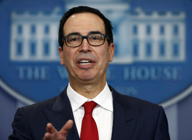 Treasury Secretary Steven Mnuchin speaks during a news briefing at the White House in Washington. Mnuchin is calling on Congress to combine a $7.9 billion disaster relief package for Hurricane Harvey with a contentious increase in the nation's debt limit. (AP)