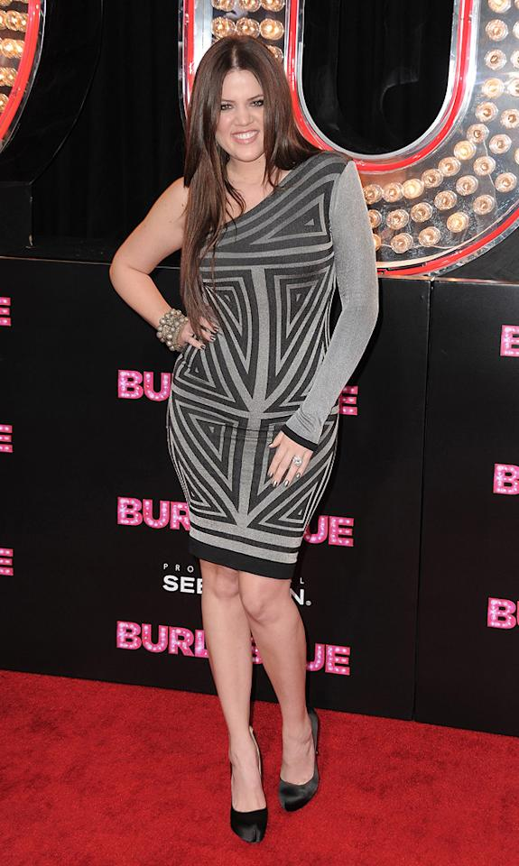 """Khloe Kardashian at the Los Angeles premiere of <a href=""""http://movies.yahoo.com/movie/1810125282/info"""">Burlesque</a> on November 15, 2010."""