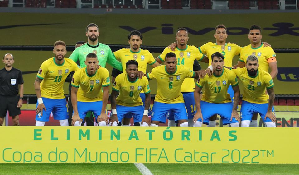 Players of Brazil pose for pictures before their South American qualification football match for the FIFA World Cup Qatar 2022 against Ecuador at the Jose Pinheiro Borda stadium, better known as Beira-Rio, in Porto Alegre, Brazil, on June 4, 2021. (Photo by SILVIO AVILA / AFP) (Photo by SILVIO AVILA/AFP via Getty Images)