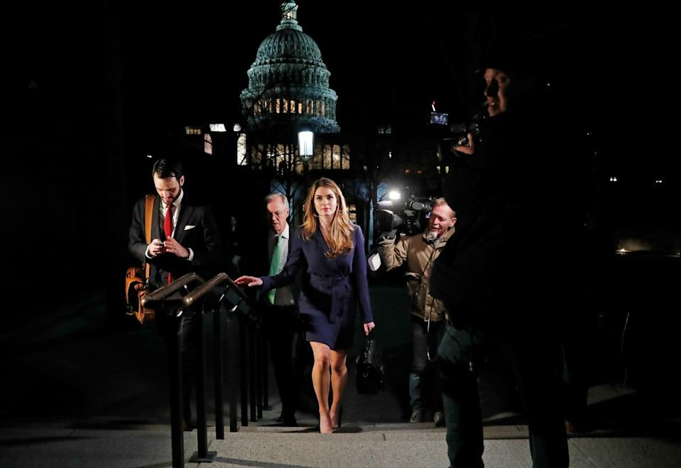 "<div class=""inline-image__caption""><p>White House Communications Director Hope Hicks leaves the U.S. Capitol after attending the House Intelligence Committee closed door meeting in Washington, U.S., February 27, 2018. </p></div> <div class=""inline-image__credit"">Leah Millis/Reuters</div>"