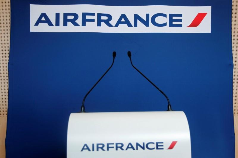 The empty podium with Air France logo is seen after a news conference in Paris