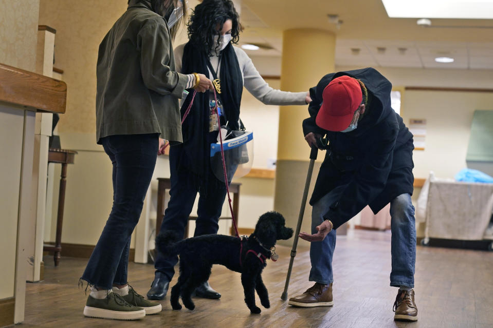 Kelley Dixon, right, greets Redwood, a poodle, as he trains while making the rounds at The Hebrew Home at Riverdale in New York, Wednesday, Dec. 9, 2020. New dog recruits are helping to expand the nursing home's pet therapy program, giving residents and staff physical comfort while human visitors are still restricted because of the pandemic. (AP Photo/Seth Wenig)
