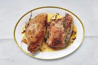 """Roasted in butter and herbs, these turkey breasts may be the best you've ever had. They make superlative sandwiches for the rest of the week, as well. <a href=""""https://www.epicurious.com/recipes/food/views/butter-roasted-turkey-breasts-51198510?mbid=synd_yahoo_rss"""" rel=""""nofollow noopener"""" target=""""_blank"""" data-ylk=""""slk:See recipe."""" class=""""link rapid-noclick-resp"""">See recipe.</a>"""