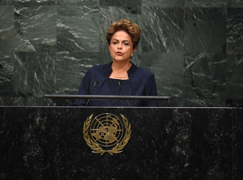 Dilma Rousseff, President of Brazil, speaks to the United Nations Sustainable Development Summit at the United Nations General Assembly in New York on September 27, 2015 (AFP Photo/Timothy A. Clary)
