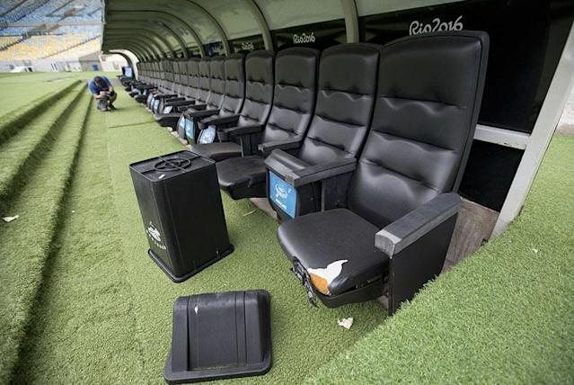 <p>Seats in the dugout have been left in disrepair (Silvia Izquierdo) </p>